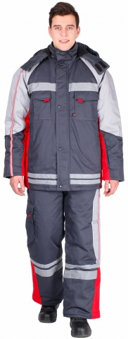 products/Костюм зимний Факел (тк.Балтекс,235) брюки, т.серый/красный