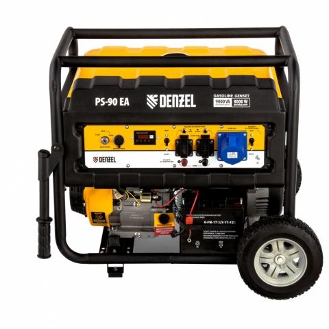 products/Генератор бензиновый PS 90 EA, 9.0 кВт, 230В, 25 л, коннектор автоматики, электростартер Denzel (946934)