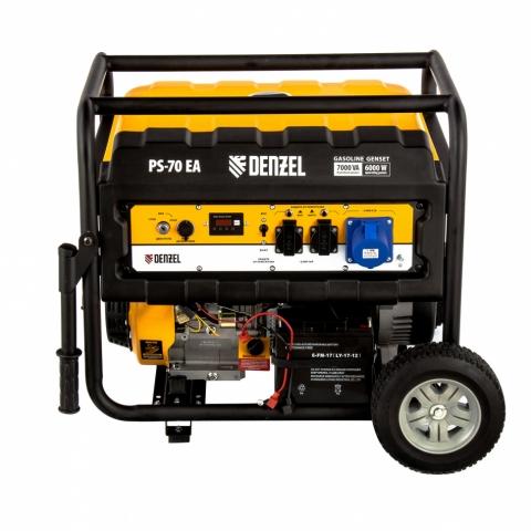 products/Генератор бензиновый PS 70 EA, 7.0 кВт, 230 В, 25 л, коннектор автоматики, электростартер Denzel (946894)