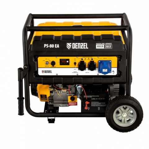 products/Генератор бензиновый PS 80 EA, 8.0 кВт, 230 В, 25 л, коннектор автоматики, электростартер Denzel (946924)