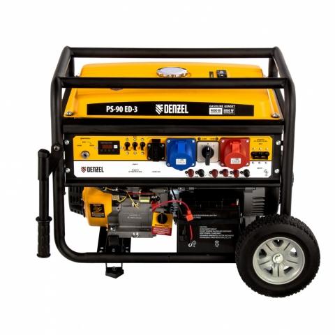 products/Генератор бензиновый PS 90 ED-3, 9.0 кВт, переключение режима 230 В/400 В, 25 л, электростартер Denzel (946944)