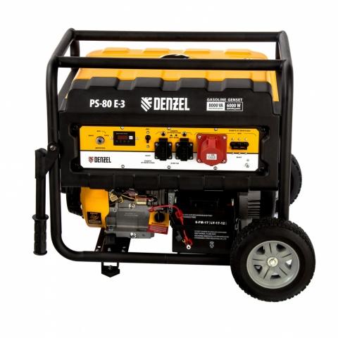 products/Генератор бензиновый PS 80 E-3, 6.5 кВт, 400 В, 25 л, электростартер Denzel (946954)