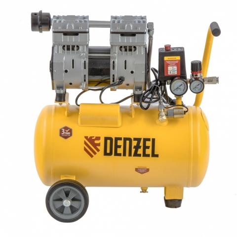 products/Компрессор DLS950/24 безмаслянный малошумный 950 Вт, 165 л/мин, ресивер 24 л Denzel (58026)