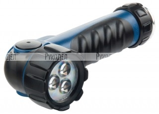 Фонарь светодиодный, противоударный, влагозащищённый, 3 LED, 2хLR20// Stern, 90521