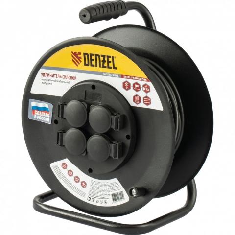 products/Удлинитель силовой на стальной катушке, ПВС 3х2,5 мм, 30м, 4 розетки, 16А, тип УХз16// Denzel, 95984