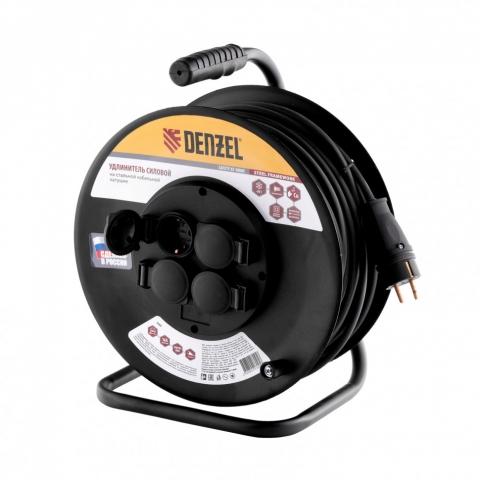 products/Удлинитель силовой на стальной катушке, КГ 3х2,5 мм, 50м, 4 розетки, 16А, тип УХз-16// Denzel, 95993