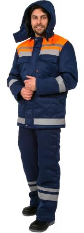 products/Костюм зимний Горизонт-Люкс (тк.Смесовая,210) брюки, т.синий/оранжевый