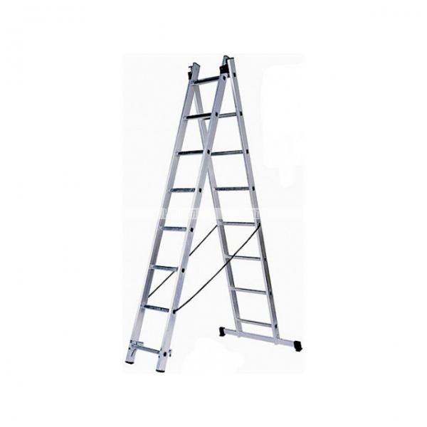 Лестница универсальная 2х11 ступеней, алюминевая двухсекционная ЗУБР Эксперт 38821-11