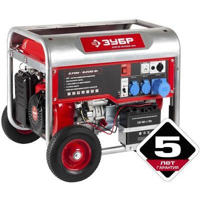 products/Генератор, 4-х тактный, ручной и электрический пуск, колеса + рукоятка, ЗУБР ЗЭСБ-6200-ЭН