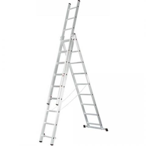 """products/Лестница универсальная 3х9 ступеней, алюминевая трехсекционная ЗУБР """"Эксперт"""" 38831-09"""