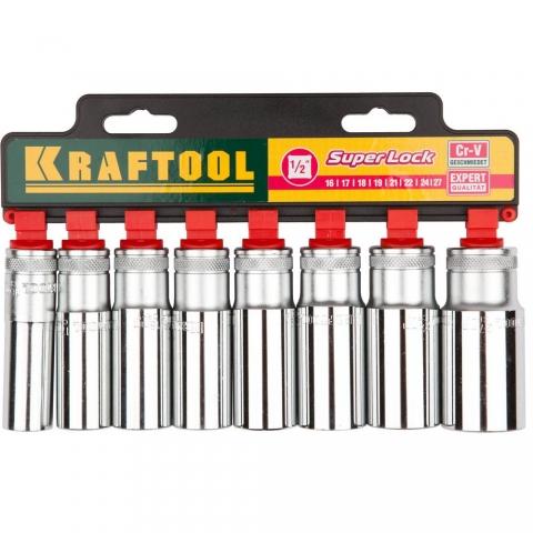 products/KRAFTOOL 27865-H8_z01 SUPER-LOCK Набор удлиненных торцовых головок на рельсе, 8 шт.
