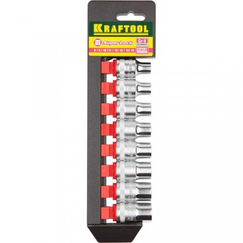 products/KRAFTOOL 27863-H8_z01 SUPER-LOCK Набор торцовых головок на рельсе, 8 шт.