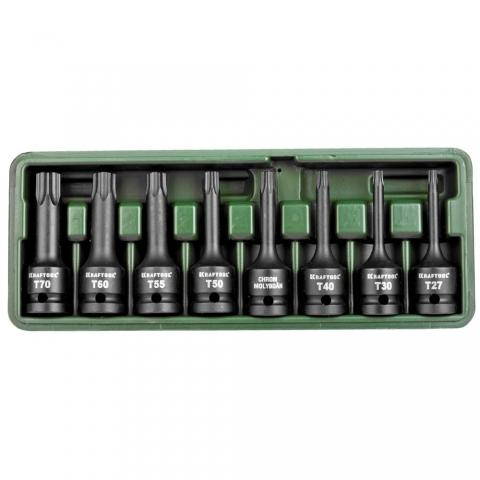 products/Торцовые головки KRAFTOOL 27952-H8 INDUSTRIE QUALITAT ударные в наборе, (1/2), Cr-Mo, фосфат., TORX, T27-T70, 8 шт.