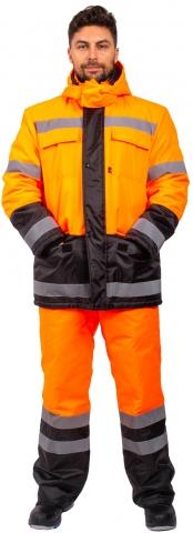 products/Костюм зимний Дорожник (тк.Оксфорд) брюки, оранжевый/черный, Факел арт. 87469373