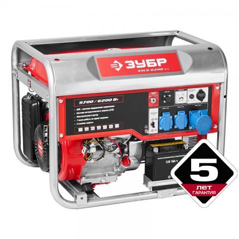 products/Генератор бензиновый Зубр ЗЭСБ-6200-ЭА, 6200/5700 Вт, 220/12 В