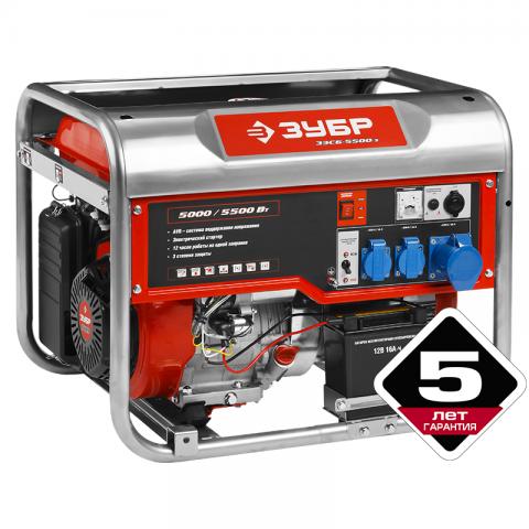 products/Генератор бензиновый Зубр ЗЭСБ-5500-ЭА, 5500/5000 Вт, 220/12 В