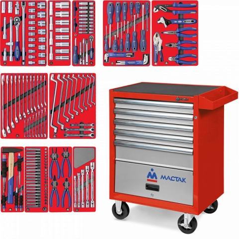 """products/52-05205R, МАСТАК Набор инструментов """"МАСТЕР"""" в красной тележке, 205 предметов"""