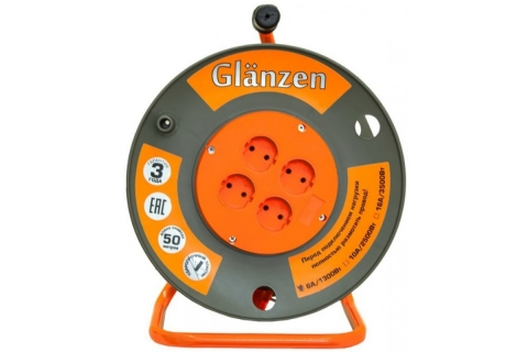 products/Удлинитель силовой на катушке GLANZEN 4 гн. ПВС 2х0,75 арт. ЕВ-50-001