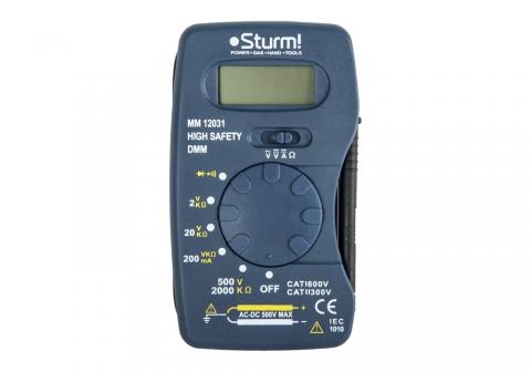 products/MM12031 Мультиметр Sturm, ЖК дисплей, АВТОДИАПАЗОН,4-500 В