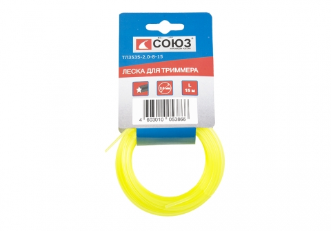 products/ТЛ3535-2.0-8-15 Леска для триммера, d=2.0 мм, l=15 м, ЗВЕЗДА, желтый КАРТОН. СОЮЗ