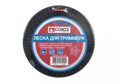 products/ТЛ3535-2.4-0-100 Леска для триммера, d=2.4 мм, l=100 м, КРУГ, оранжевый БОБИНА, СОЮЗ
