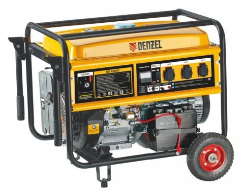 products/Генератор бензиновый Denzel GE 7900E 6,5 кВт, 220В/50Гц, 25 л, электростартер (арт. 94685)