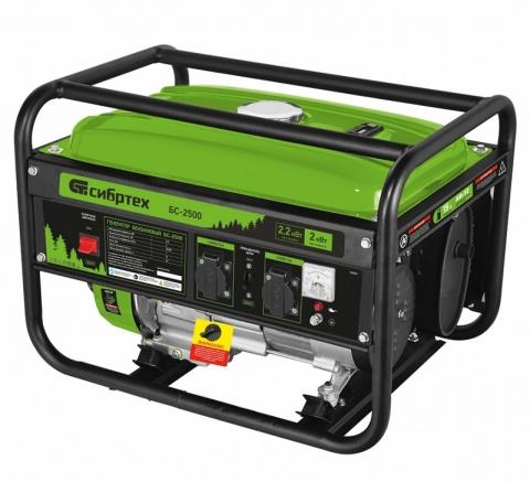 products/Генератор бензиновый БС-2500, 2,2 кВт, 230В, 4-х такт., 15 л, ручной стартер, Сибртех, 94542