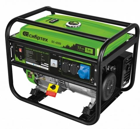 products/Генератор бензиновый БС-6500, 5,5 кВт, 230В, 4-х такт., 25 л, ручной стартер, Сибртех, 94546