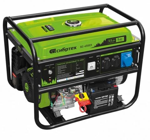 products/Генератор бензиновый БС-6500Э, 5,5 кВт, 230В, 4-х такт., 25 л, электростартер, Сибртех, 94548