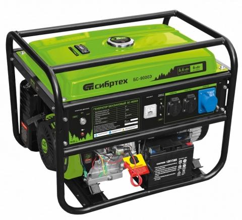 products/Генератор бензиновый БС-8000Э, 6,6 кВт, 230В, 4-х такт., 25 л, электростартер, Сибртех, 94549