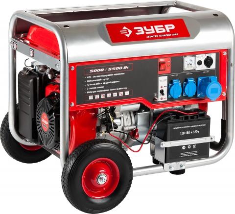 products/Бензиновый генератор с колесами и рукояткой, 5500 Вт, ЗУБР ЗЭСБ-5500-Н