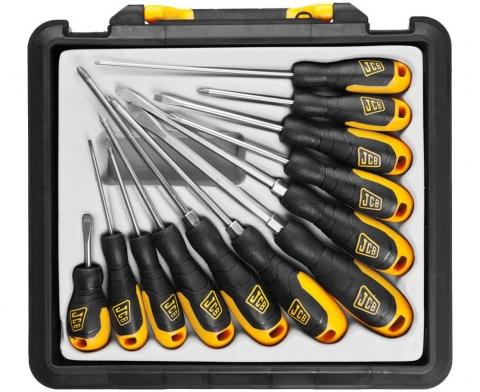 products/Набор инструмента JCB (JSD021): (Отвертки, хромомолибденовая сталь S2, двухкомпонентные рукоятки, магнитный наконечник) 12 предметов, в боксе