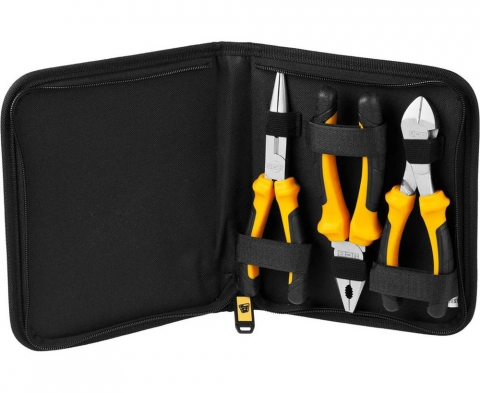 products/Набор JCB (JPL016): Губцевый инструмент, хромированное покрытие, двухкомпонентные рукоятки, CrV cталь, 3 предмета, чехол