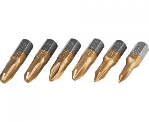 products/Набор JCB (JPL001): Биты, хромомолибденовая сталь S2, титановое покрытие, 6 пред.: PH№ 0,1,2х2шт,3х2шт, 25мм