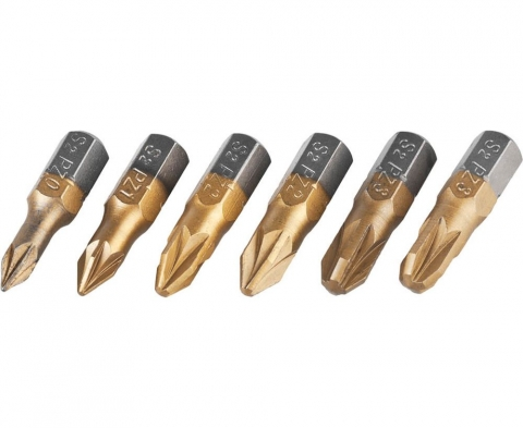 products/Набор JCB (JPL002): Биты, хромомолибденовая сталь S2, титановое покрытие, 6 пред.: PZ№ 0,1,2х2шт,3х2шт, 25мм