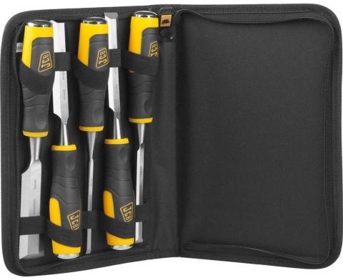 products/Набор JCB (JCS009): Стамески, двухкомпонентные рукоятки, CrV cталь, 6 предм.: 6,12,19,25,32мм, с чехлом