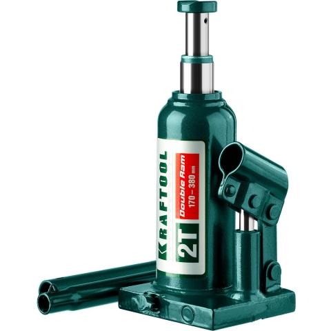 products/Домкрат гидравлический бутылочный Double Ram, сварной, телескопический, 2т, 170-380мм, KRAFTOOL 43463-2