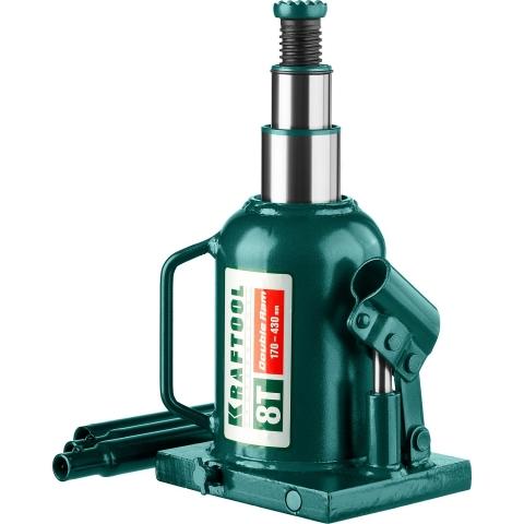 products/Домкрат гидравлический бутылочный Double Ram, сварной, телескопический, 8т, 170-430мм, KRAFTOOL 43463-8