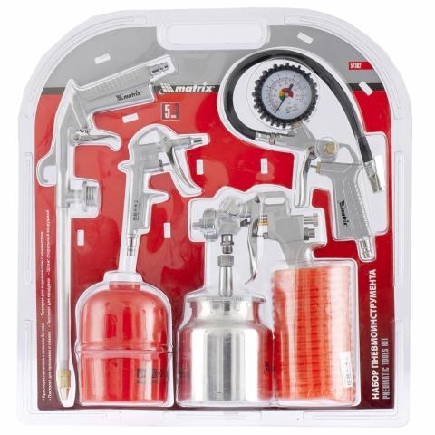 products/Набор пневмоинструмента MATRIX 5 предметов, быстросъемное соед., краскорасп. с нижним бачком (арт. 57302)