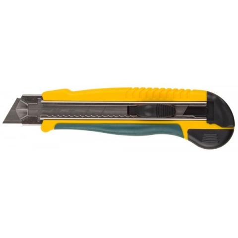 products/Нож с сегментирован лезвием, KRAFTOOL 09197, двухкомпонент корпус, автостоп, допфиксатор, кассета на 5 лезвий, 25 мм 09197