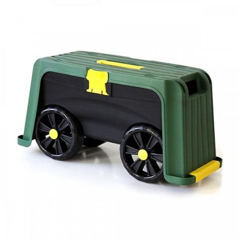 products/Скамейка-перевертыш садовая Helex с ящиком на колесах 4в1, зеленый/черный, арт. H835