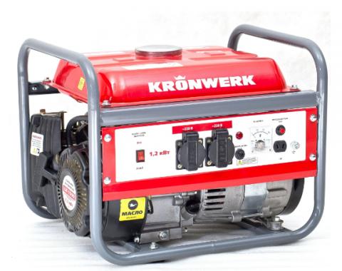 products/Генератор бензиновый LK 1500,1,2 кВт, 230 В, бак 6 л, ручной старт, Kronwerk 94649