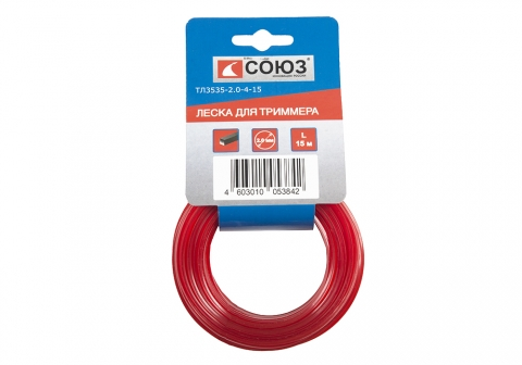 products/ТЛ3535-2.4-4-100 Леска для триммера, d=2.4 мм, l=100 м, КВАДРАТ, красный, БОБИНА, СОЮЗ