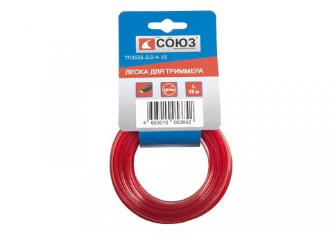 products/ТЛ3535-2.0-4-30 Леска для триммера, d=2.0 мм, l=30 см, КВАДРАТ, красный. НАРЕЗАННАЯ, 30 шт. СОЮ