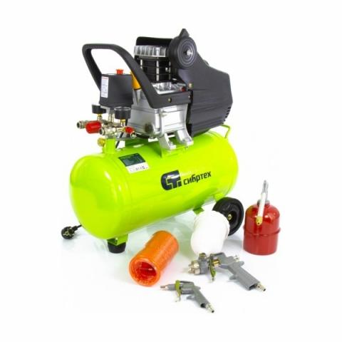 products/Компрессор с набором СибрТех КК-1500/24 ПЛЮС, 1,5 кВт, 198 л/мин, 24 л, прямой привод, масляный (арт. 58038) с набором
