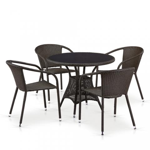 products/Обеденный комплект плетеной мебели из искусственного ротанга Afina T197ANS-W53/Y137C-W53 Brown 4Pcs