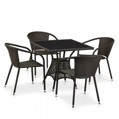 products/Обеденный комплект плетеной мебели из искусственного ротанга Afina T197BNS-W53/Y137C-W53 Brown 4Pcs
