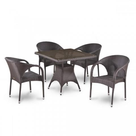 products/Обеденный комплект плетеной мебели из искусственного ротанга Afina T220BBT/Y290B-W52 Brown 4Pcs