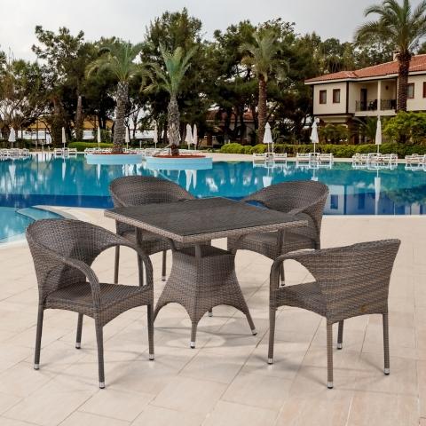 products/Обеденный комплект плетеной мебели из искусственного ротанга Afina T220BG/Y290BG-W1289 Pale 4Pcs