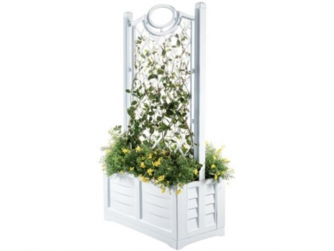 products/Ящик для цветов Bama Separe на колесах с шпалерой белый, арт. 31981